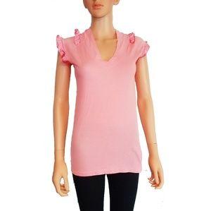 Vintage Ecko Red Pink Ruffled Sleeves Large Shirt